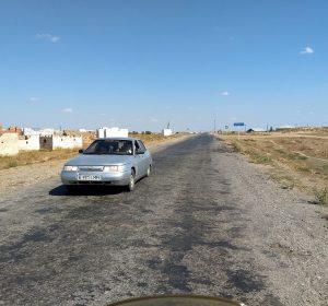 Ganz schlechte Straßen in Kasachstan